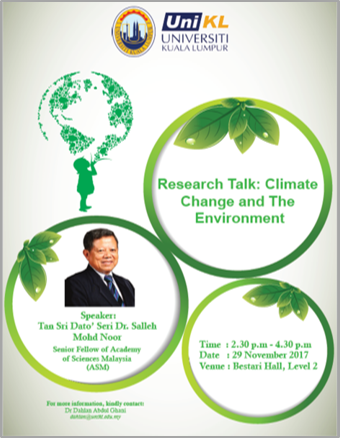 RESEARCH TALK : CLIMATE CHANGE AND THE ENVIRONMENT